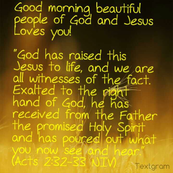 """Good morning beautiful people of God and Jesus Loves you!   """"God has raised this Jesus to life, and we are all witnesses of the fact. Exalted to the right hand of God, he has received from the Father the promised Holy Spirit and has poured out what you now see and hear."""" (Acts 2:32-33 NIV)"""