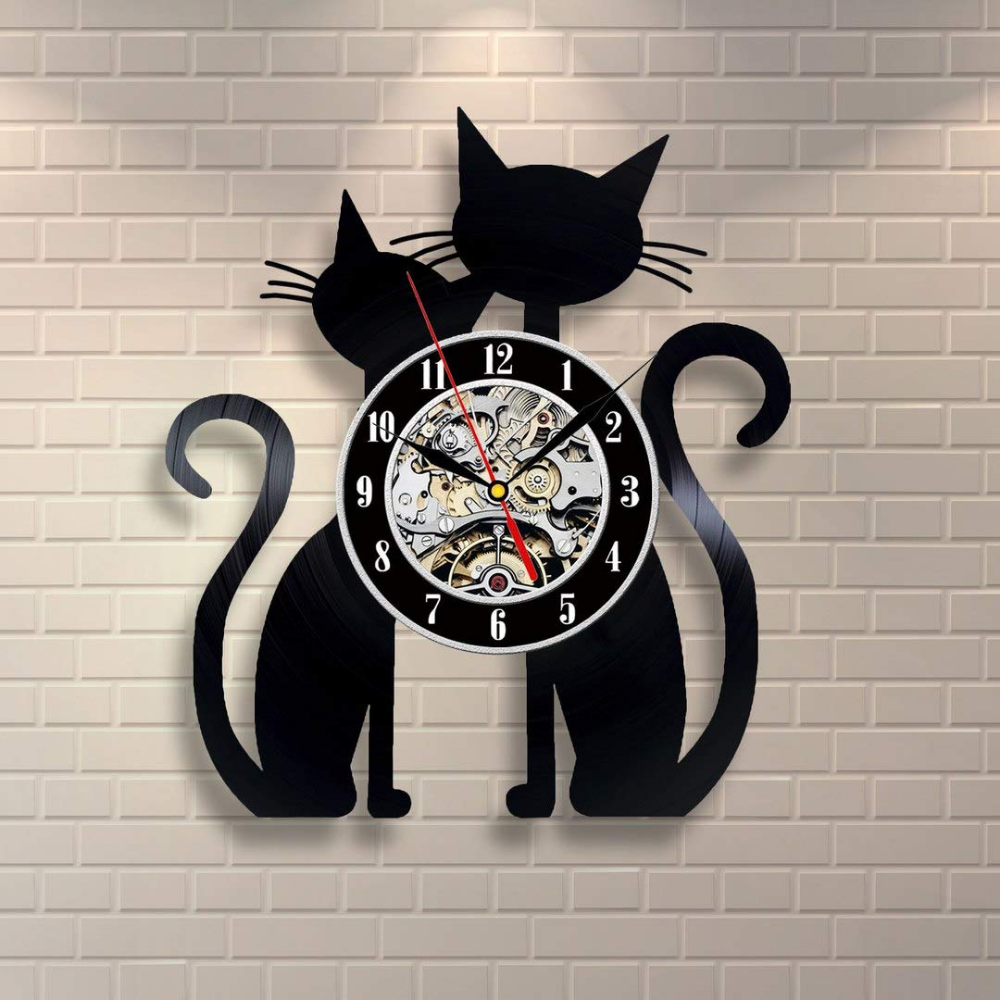 Cat Clock 12 Inch Nature Retro Vinyl Record Clock New Ideas Items Cat Wall Art Cat Clock Cat Wall