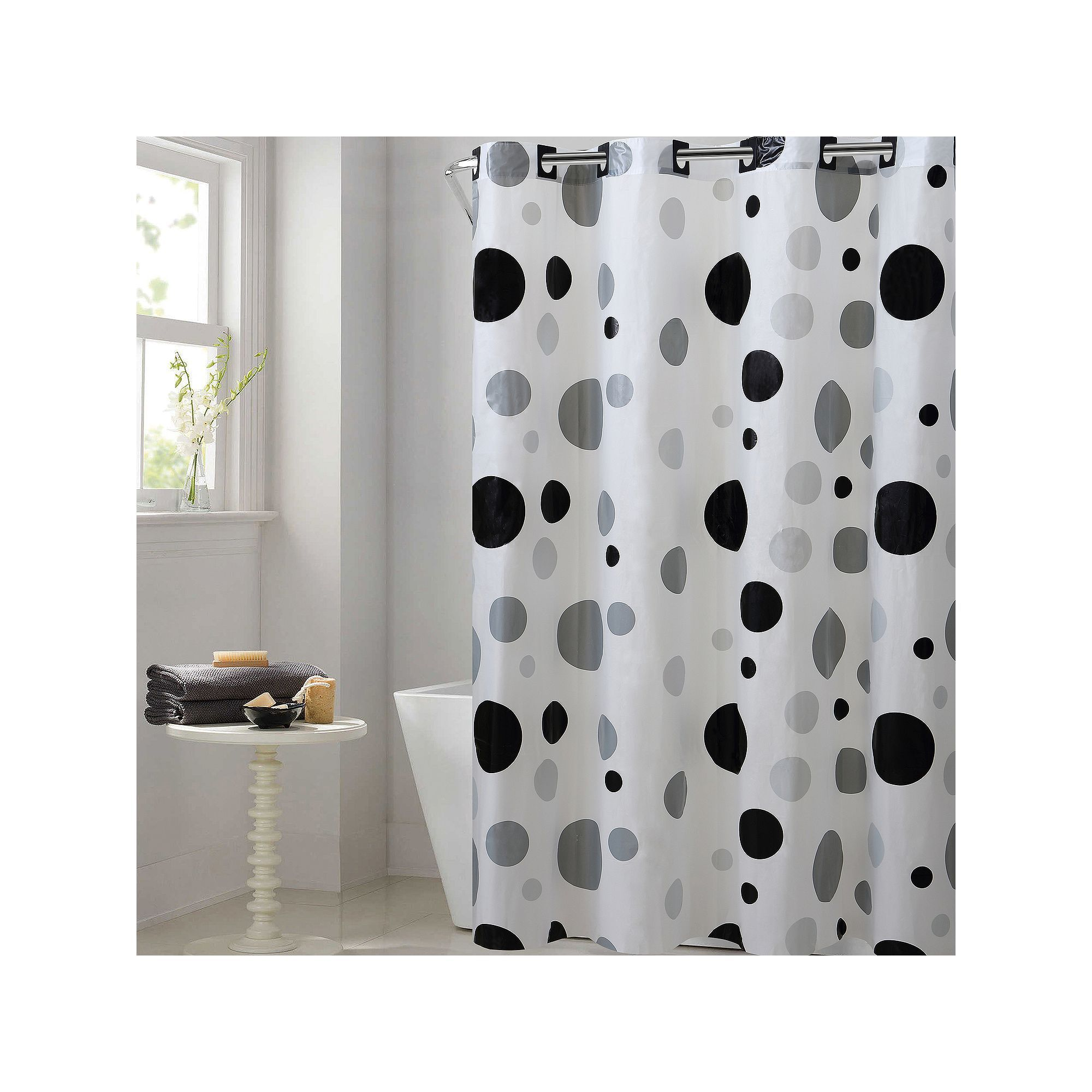 EZ On By Hookless Retro Dots Peva Shower Curtain Multicolor