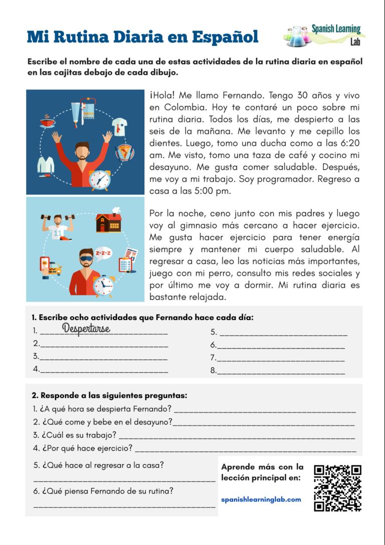My Daily Routine in Spanish PDF Worksheet Spanish