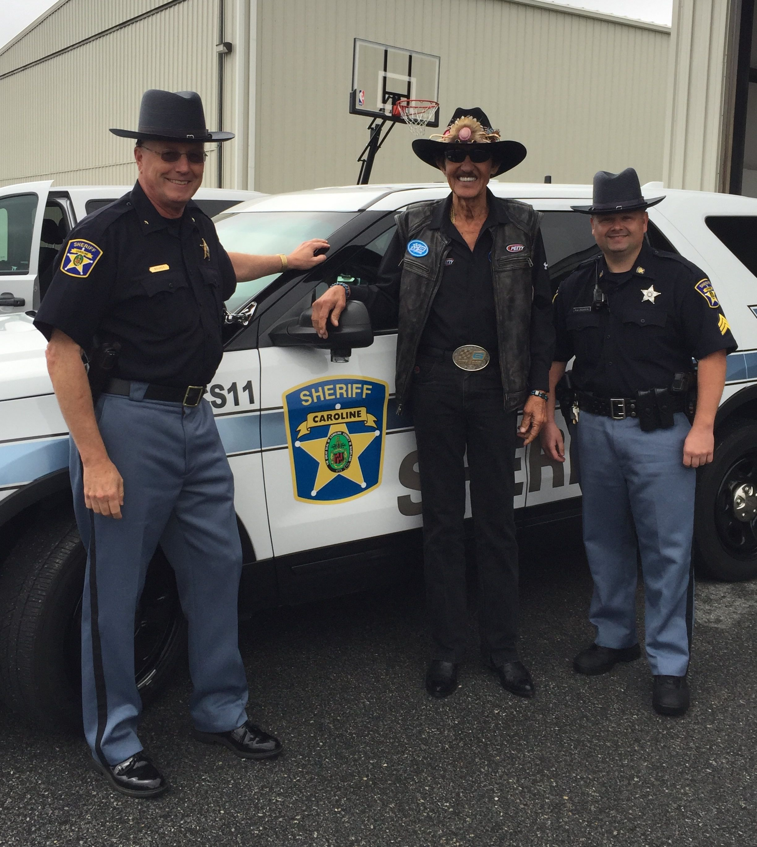 Sheriff Randy Bounds With NASCAR Legend Richard Petty And Sgt Rick - Ridgely car show