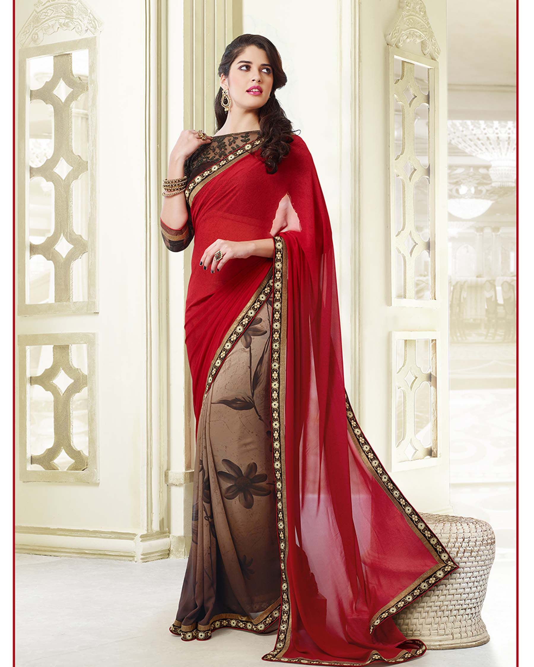 Free Shipping Maroon Sari Traditional Vintage Printed Georgette Indian culture Women Clothing Sari