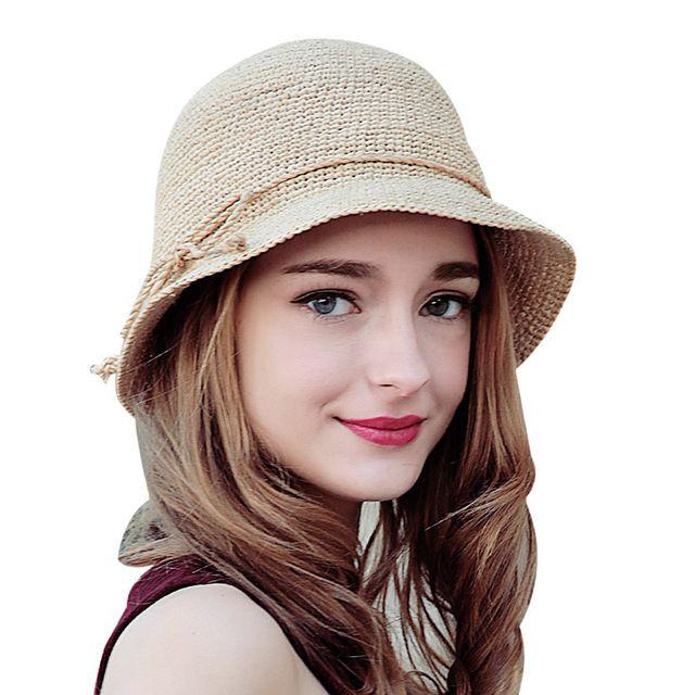 6df78d3a7b97f Sedancasesa moda mujeres rafia crochet sombrero de paja sombreros de verano  sombrero de ala ancha para las señoras bowknot plegable dom casquillo de la  ...