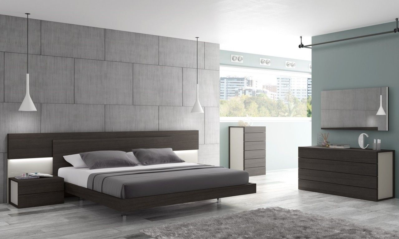 Camera Da Letto Wenge.Sintra Contemporary Queen Size Bed In Wenge Light Grey Abitare