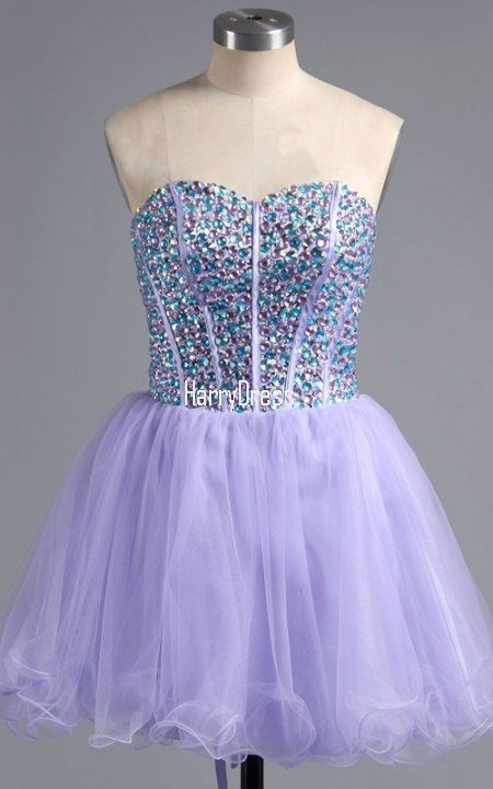 Lavender Mini Sleeveless Sweetheart A Line Tulle Strapless Short Homecoming  Dress