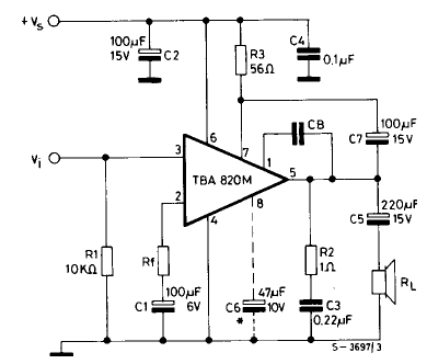 the example schematic for the tba820m amplifier chip | atari & diy, Schematic