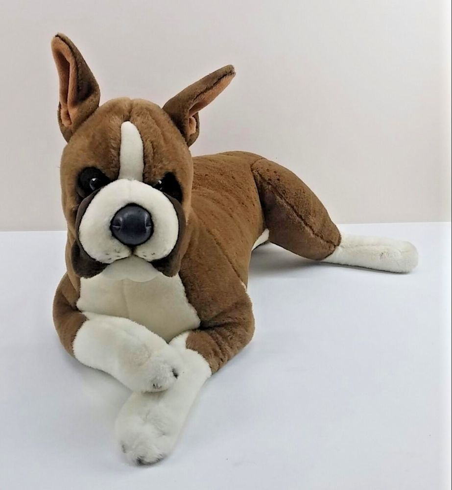 Boxer Dog Plush Stuffed Large Realistic Puppy 33 Head To Paws No