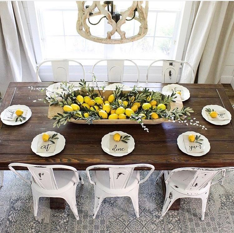 White And A Pinch Of Yellow Dream Dining Table Decor Dining Room Table Dining Room Decor