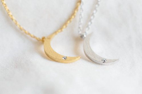 Half moon necklace moon necklace moon jewelry moon by DaisyChainCo