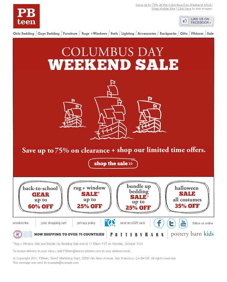 Email Marketing For Special Occasions Columbus Day Columbus Day Special Occasion Email Marketing