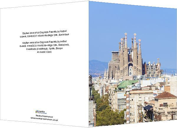 Greetings Card-Skyline view of La Sagrada Familia, by Antoni Gaudi, UNESCO World Heritage Site, Barcelona-6