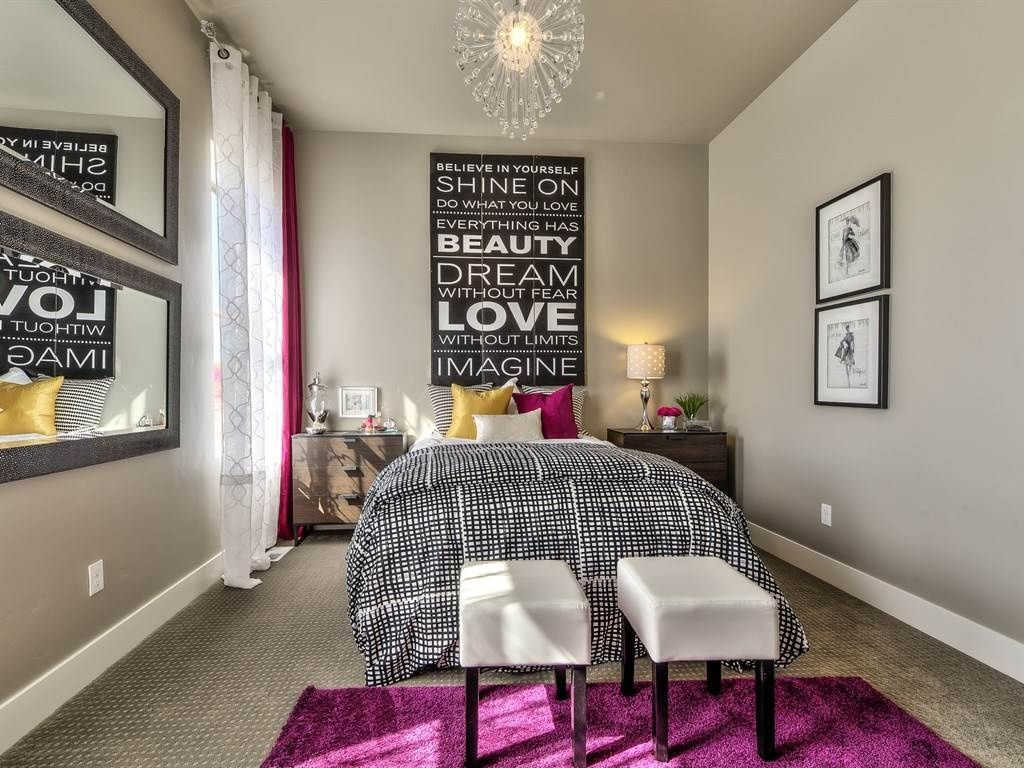 Transitional Guest Bedroom with Retro Signz Inspirational Wall ...