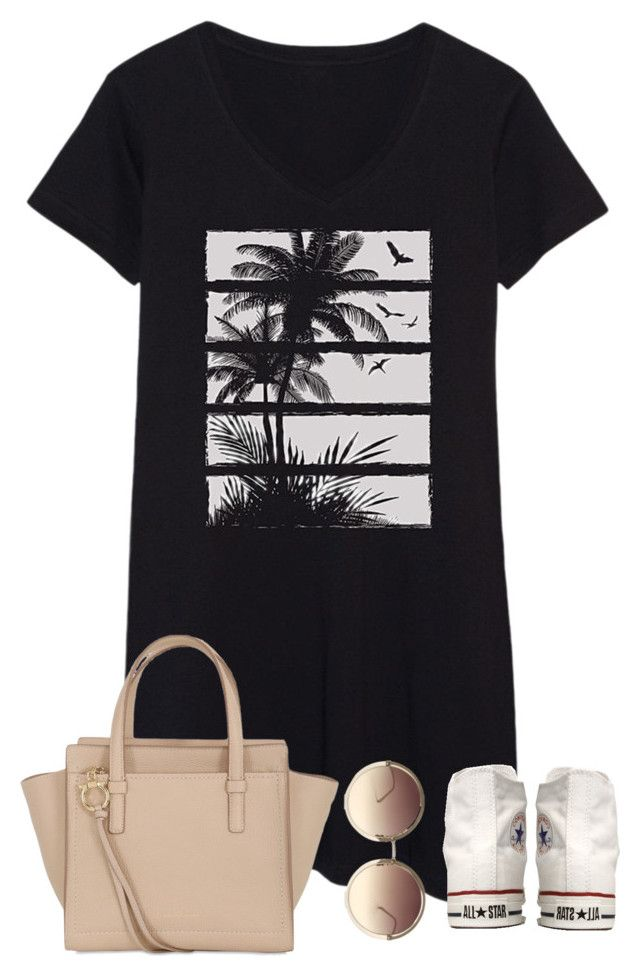 """""""Summer downtown"""" by classyandsassyabby ❤ liked on Polyvore featuring Converse, Salvatore Ferragamo, Linda Farrow, Summer, converse, downtown, roundsunglasses and tshirtdress"""