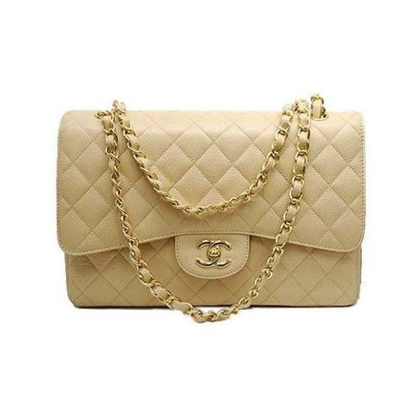 Bolsa Chanel 2.55 Bege Couro Legitimo E Nº Série, Impecavel ❤ liked on Polyvore