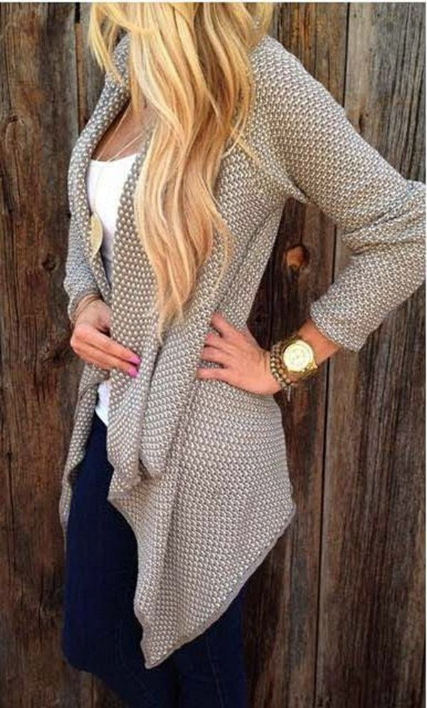 Irregular Open Front Long Sleeve Cardigan | Clothes, Fall fashion ...