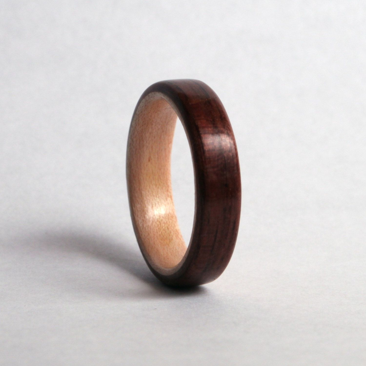 Black Walnut Wood Ring With Maple Liner Wooden Wedding Band: Walnut Wood Wedding Rings At Websimilar.org