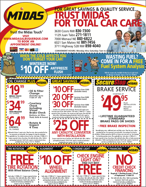 Midas Coupons, Shopping guide, Car care