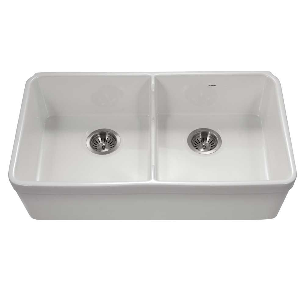 Houzer Platus Undermount Fireclay 32 In 50 50 Double Bowl Kitchen Sink In White With Low Divide Products In 2019 Farmhouse Sink Kitchen Double Bowl Kitch