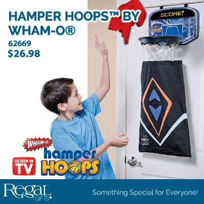 "HAMPER HOOPS (TM) from Regal Gifts Picking up dirty laundry has never been this fun! Hook over the door and throw your clothes through the hoop, into the laundry bag attached. Laundry bag has convenient zipper at the bottom to easily load your laundry basket , or simply unhook the bag to take straight to the washer. Perfect for boys, girl or the dorm room. Ages 8+. Hoop: 11""Diam. Backboard: 15""W x 10""L Bag: 25""L x 16-1/2""W Product: 62669 http://www.Regal.ca"