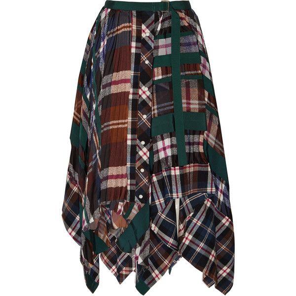 Sacai Sacai - Asymmetric Pleated Tartan Flannel Skirt - Navy (5.555 RON) ❤ liked on Polyvore featuring skirts, tartan skirt, multicolor skirt, plaid pleated skirts, multi color skirt and tartan plaid pleated skirt