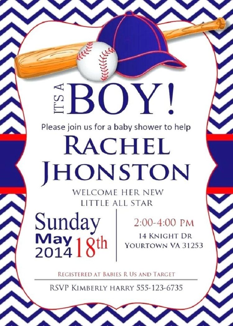 Baseball Baby Shower Invitations Templates Buick In 2019