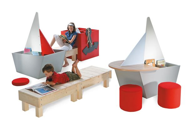 Reading Ship Children s Furniture   Bench Reading Ship Children s Furniture features book boxes shaped like sailing  boats that combine with benches for