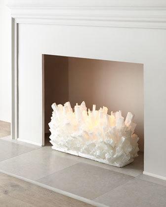 "-4ZSJ Kathryn McCoy  Selenite Fireplace Sculpture, 24""W Selenite Fireplace Sculpture, 30""W"
