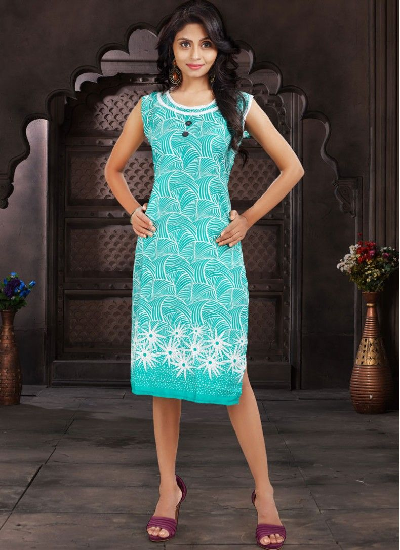 Sea Green Cotton  Fancy Kurti
