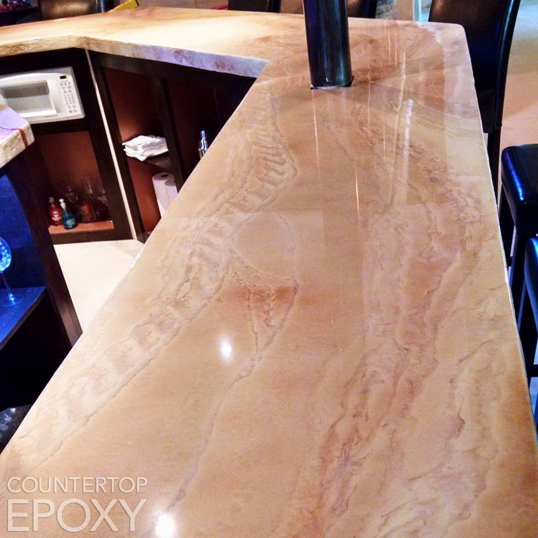 Beautiful Travertine Bartop Countertop Using Our Premium Fx Poxy