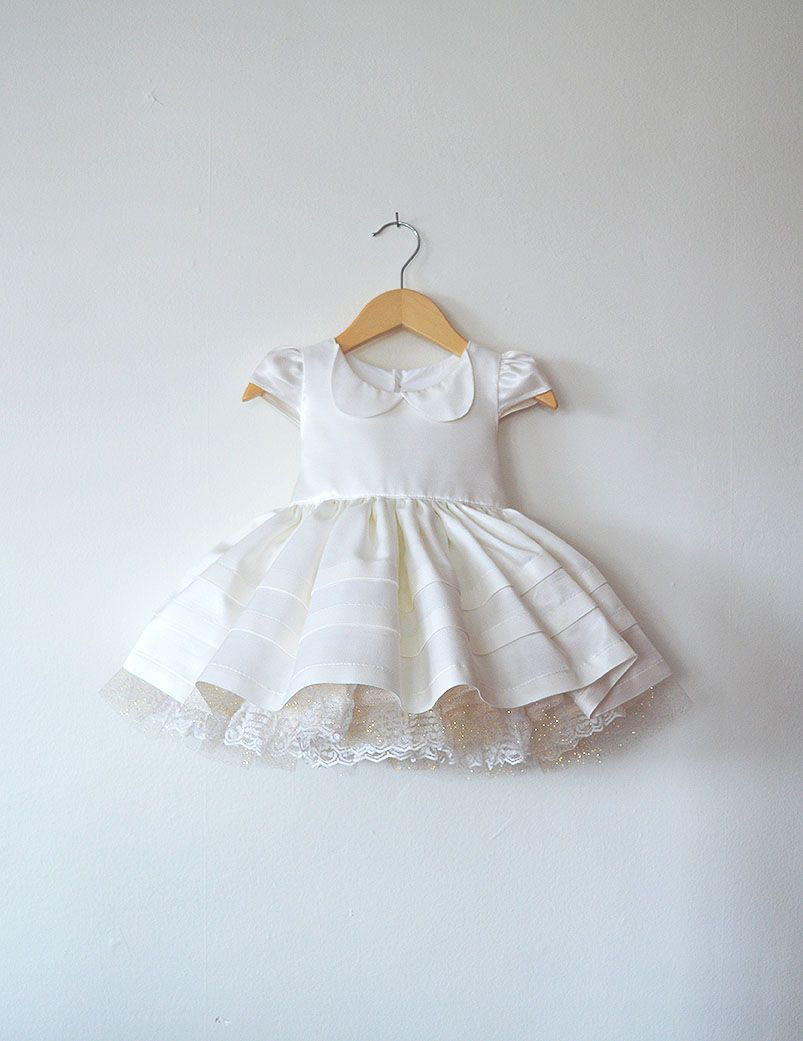 af4f9867940 White Lace Baptism or Christening Dress with Petticoat