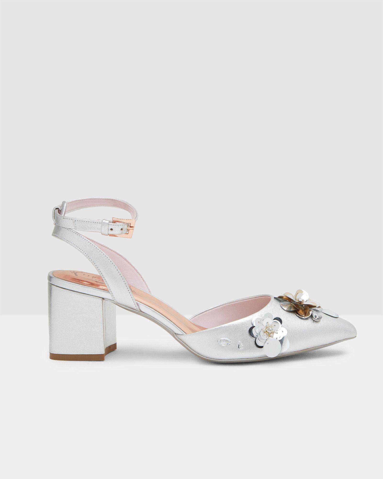 Floral embellished leather sandals