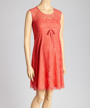 9a04031e943 Look at this  zulilyfind! Coral Lace Overlay Maternity Sleeveless ...