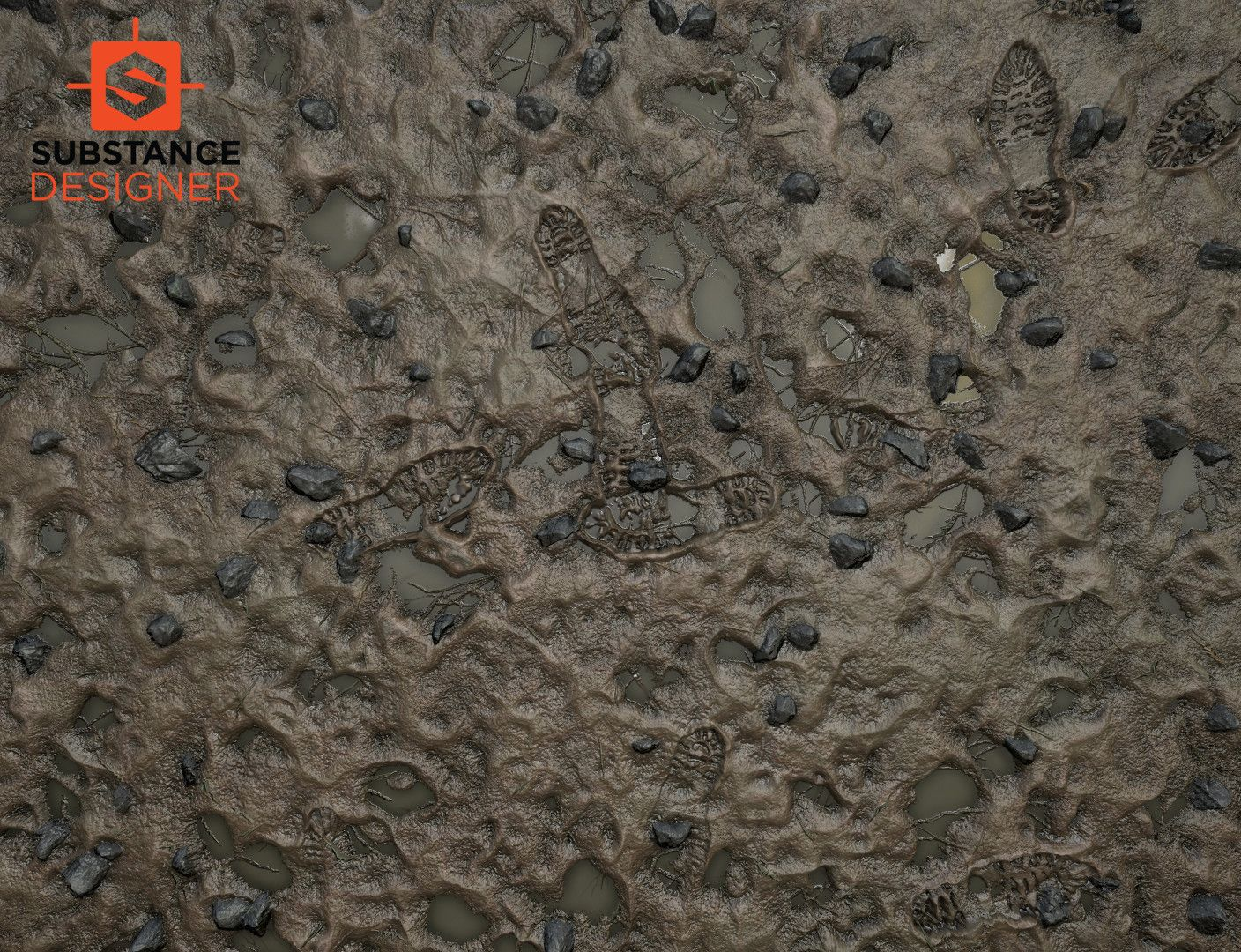 This texture of the mud created in the substance designer for my
