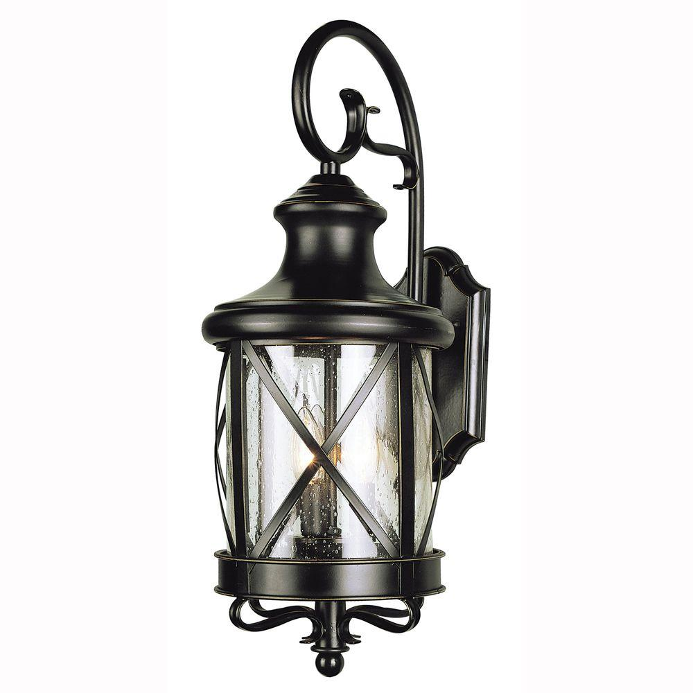Bel Air Lighting Carriage House 2 Light Outdoor Oiled Bronze Coach Lantern With Clear Outdoor Wall Mounted Lighting Trans Globe Lighting Outdoor Wall Lighting