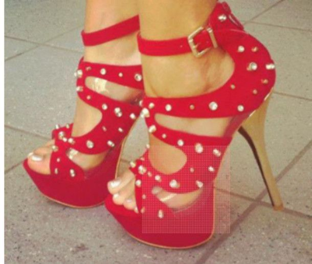 Shoes: high heels, red high heels, buckles, diamonds, studs ...