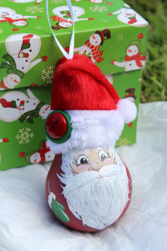 Santa Hand Painted Christmas Ornament by DesignsbyJodyRife on Etsy