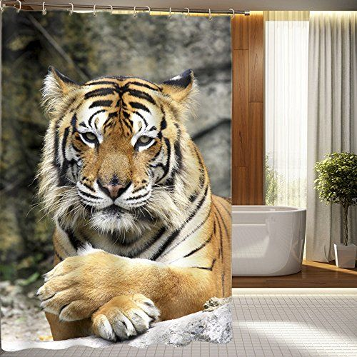 Chezmax 3d Tiger Bathroom Curtain Home Fabric Shower Curtain With