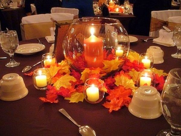 Fall Wedding Candle Flower Table Centerpieces Decorations
