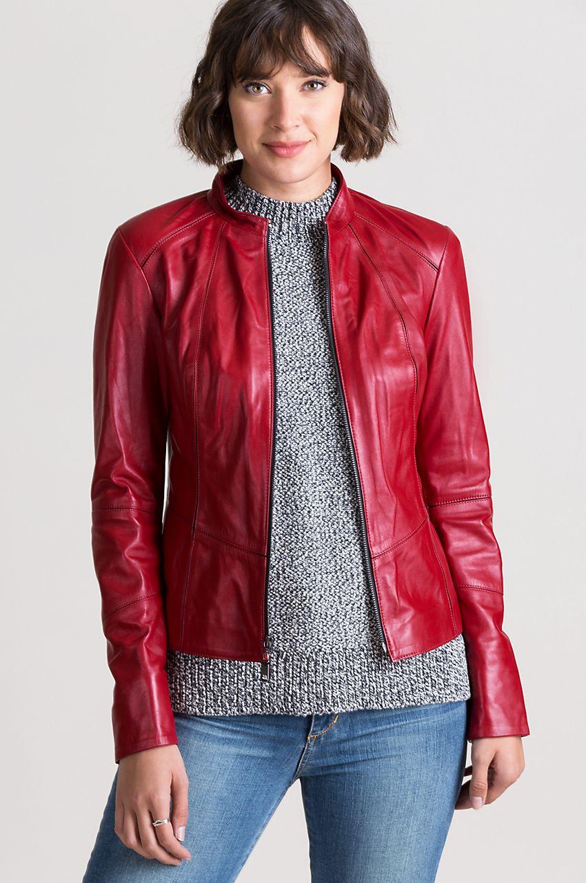 Racquel Italian Lambskin Leather Moto Jacket Overland