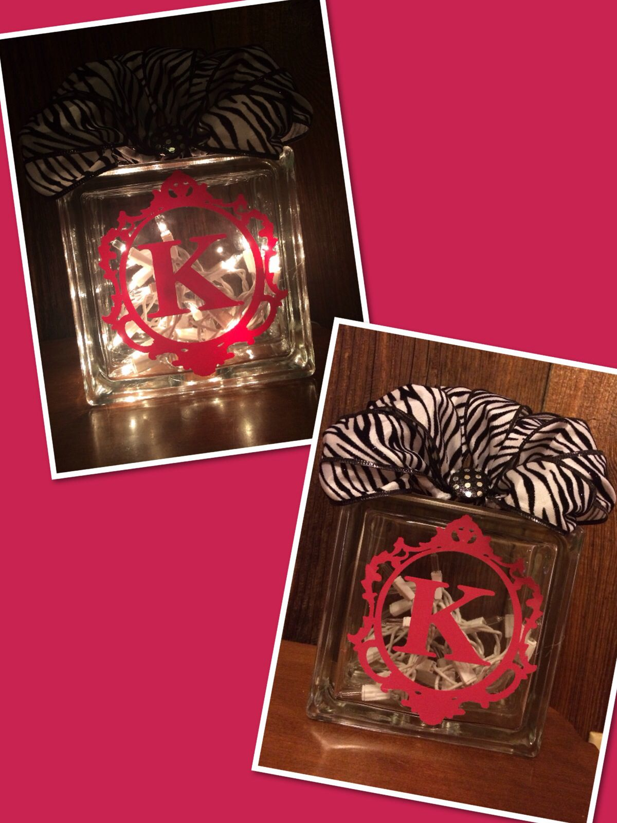 Cricut gift for baby girl pink and zebra glass block and