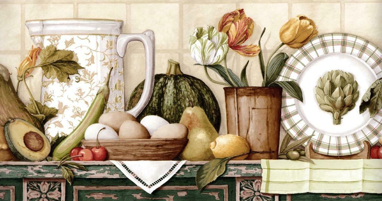 Primitive Folk Art Fruits & Vegetables on Country Kitchen