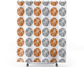Orange And Gray Basketball Shower Curtain For Lovers By LuvUniqueHome Bathroom Showercurtain