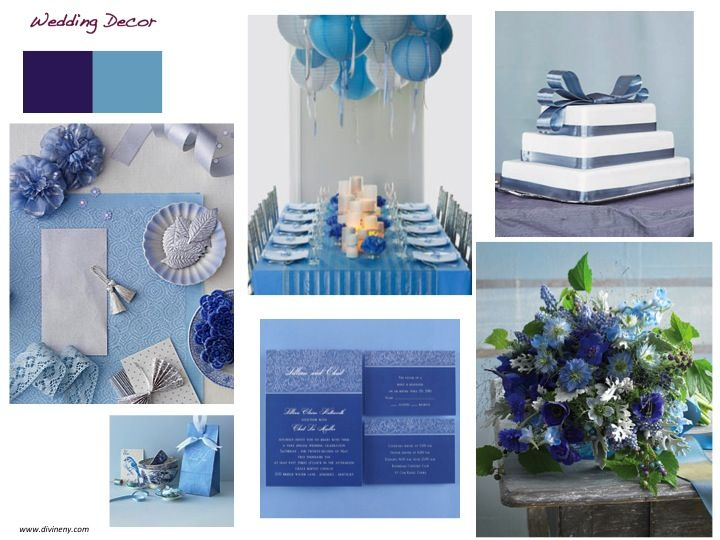 Wedding décor:  purple & blue.  Purple is glamorous, sophisticated.  Blue adds  a modern edge.