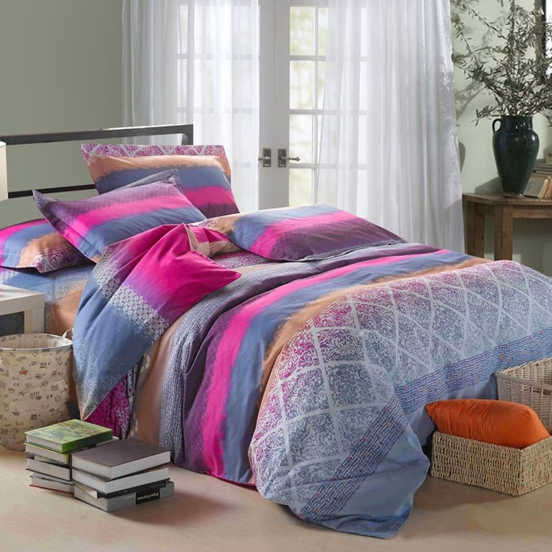 Pink Grey and Brown Buffalo Plaid Geometric Contemporary Tropical Simply Chic Bedding Sets
