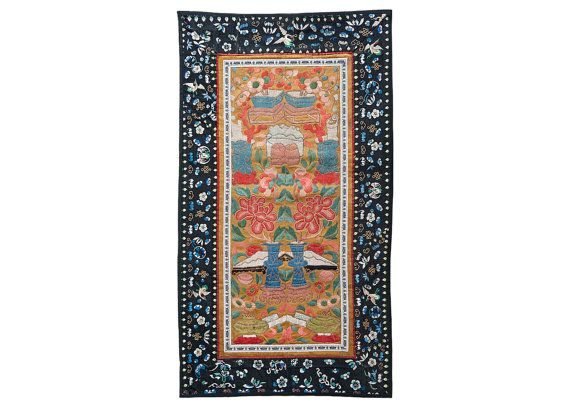 13 x 24 in ( 33.5 x 61 cm ) Antique Chinese Silk Hand Embroidery Tapestry