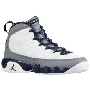 Jordan Retro 9 Girls Grade School Basketball Shoes White