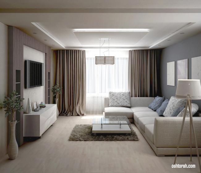 Бежевые шторы для зала | Гостиная в стиле минимализм ...