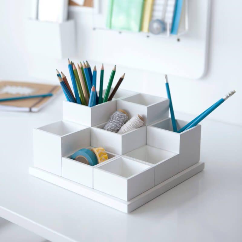 White Desk Organiser With Multi Sized Stationery Holders
