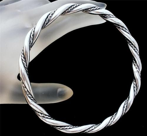 Vintage Sterling Silver Bangle Bracelet Heavy Twisted Solid Handmade Round 8 Ebay