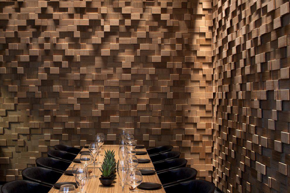 rev tement mural en bois restaurant taizu tel aviv architecture pinterest rev tement. Black Bedroom Furniture Sets. Home Design Ideas